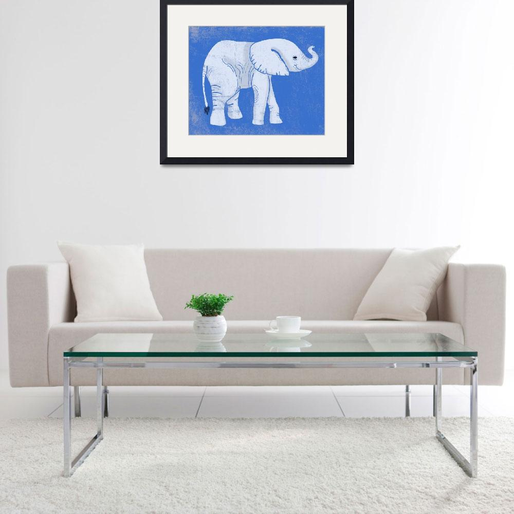 """Baby Elephant in Blue&quot  (2014) by Littlepig"