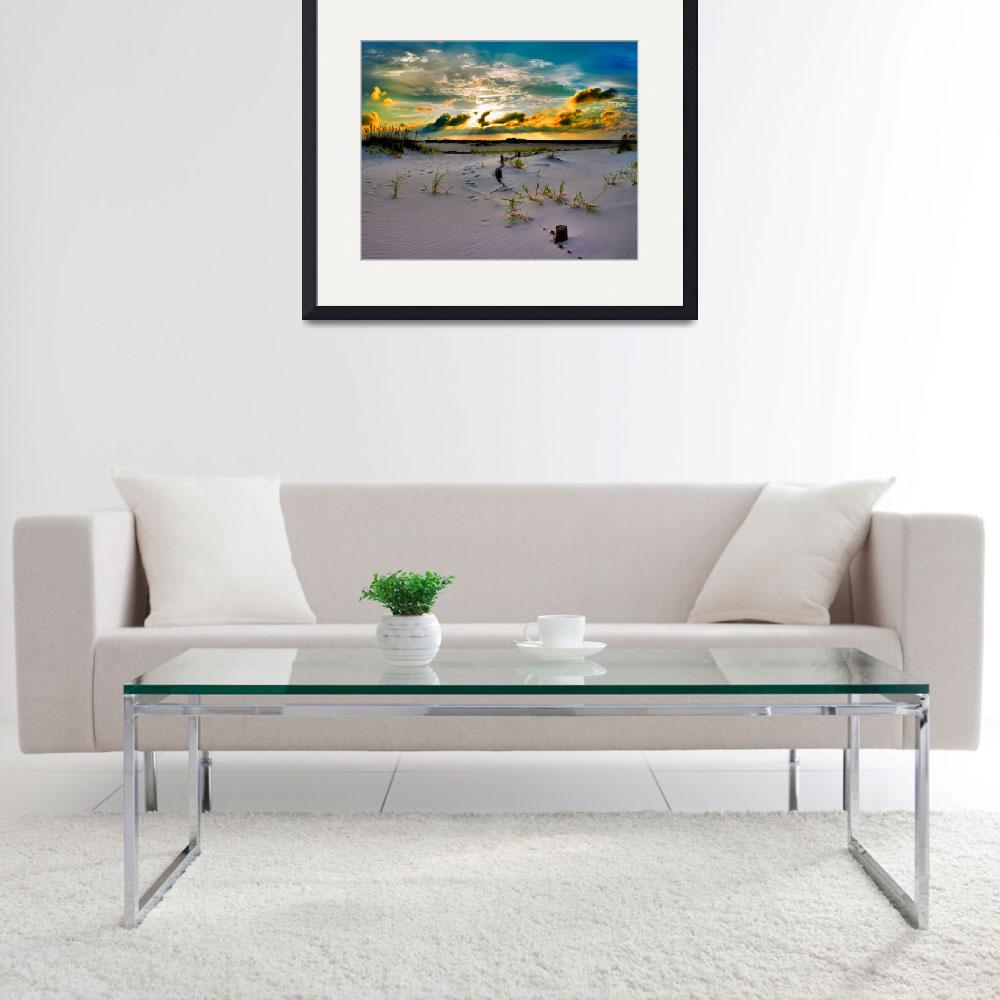 """Gold Sunset Beach Sand Dunes Fine Art Giclee Print&quot  (2012) by eszra"