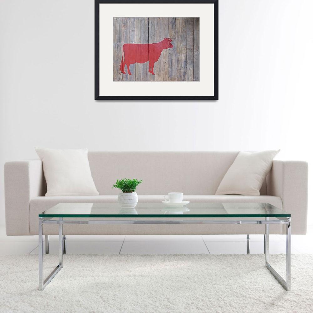 """Reclaimed Wood Red Cow Painting&quot  (2012) by LisaKDesigns"