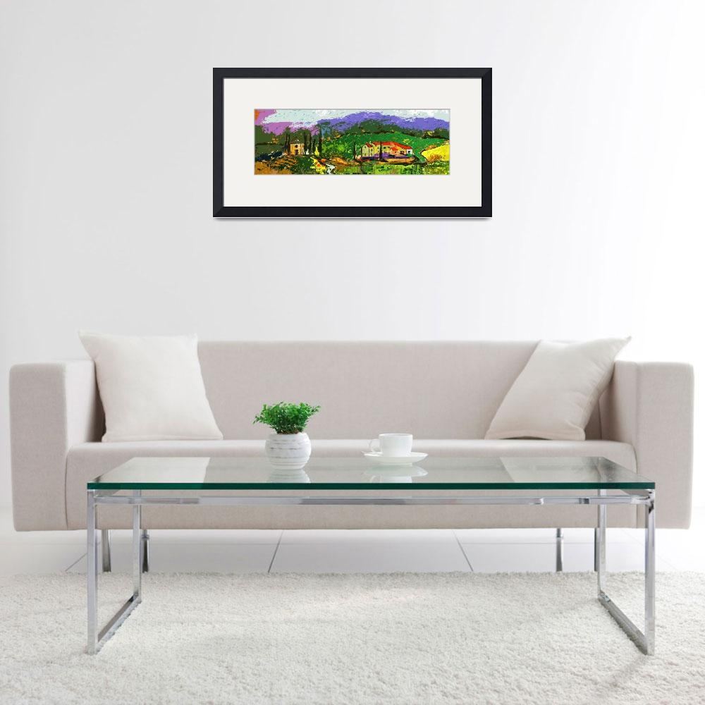 """Abstract Modern Tuscan Panoramic Landscape&quot  (2012) by GinetteCallaway"