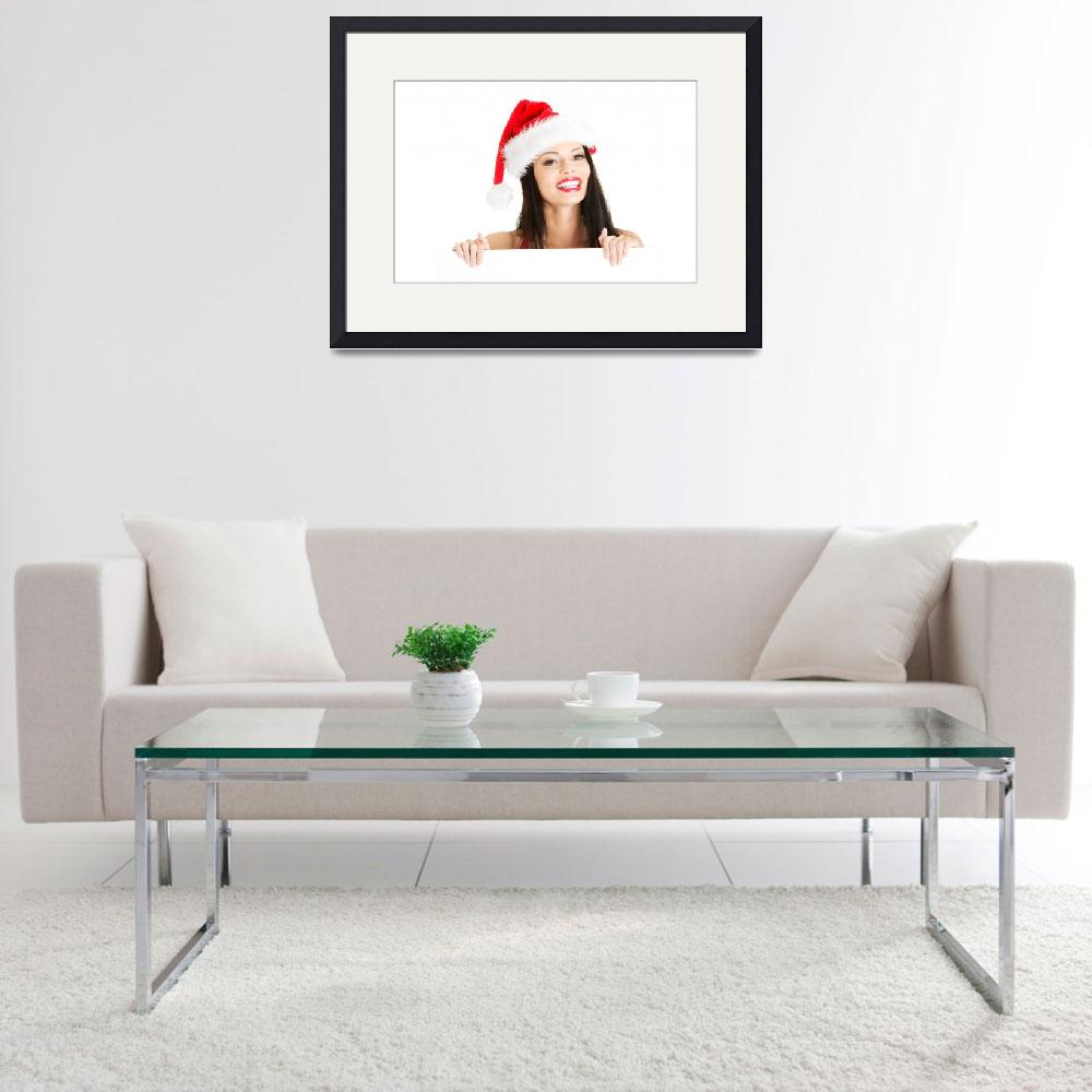 """Santa girl holding blank board, isolated on white&quot  by Piotr_Marcinski"