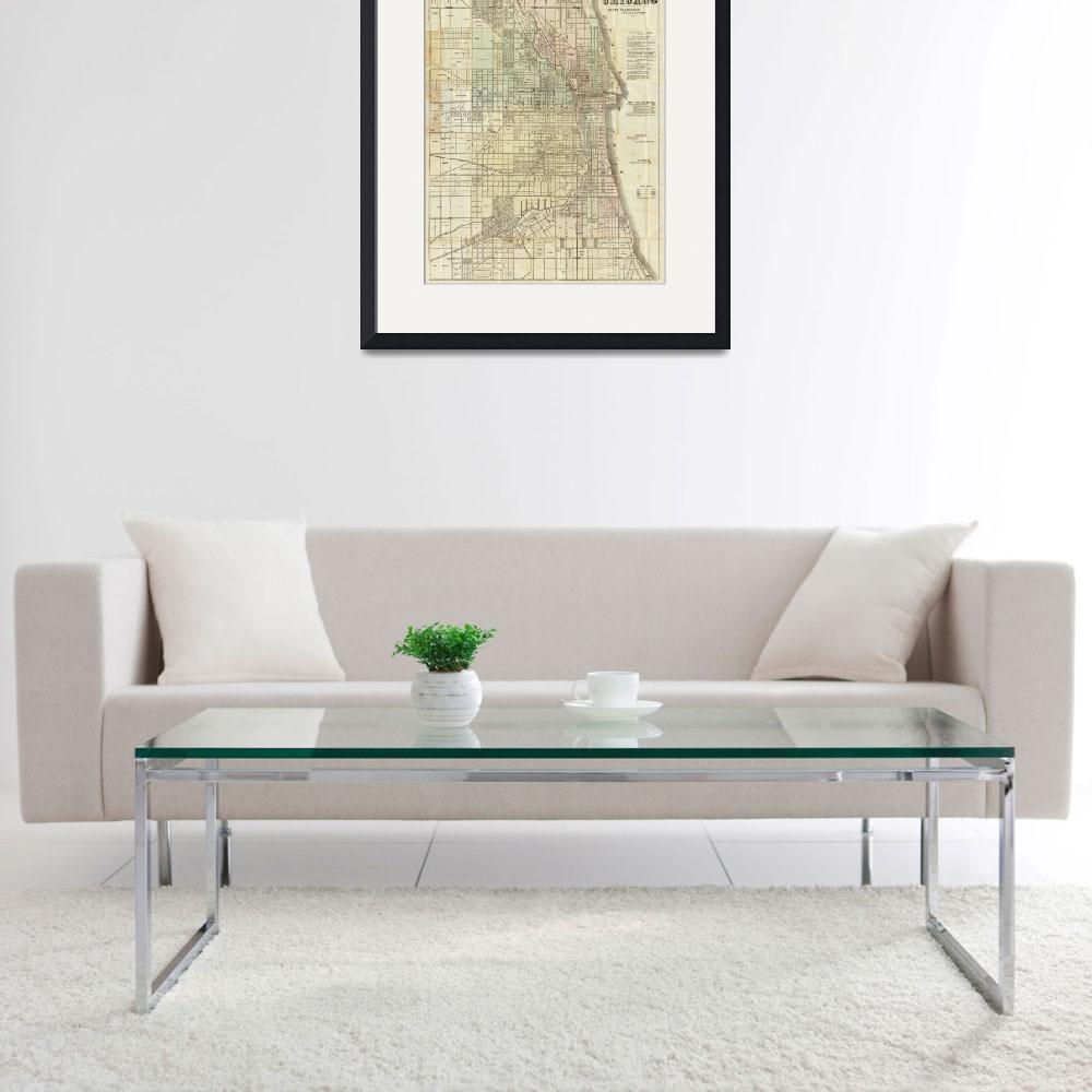 """Vintage Map of Chicago (1857)&quot  by Alleycatshirts"
