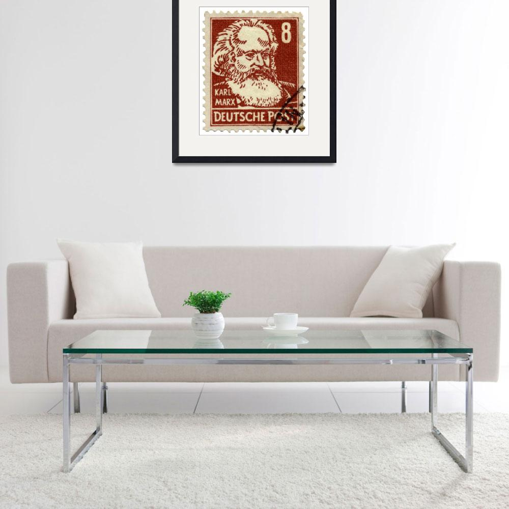 """Karl Marx German Postage Stamp&quot  (2007) by WilshireImages"