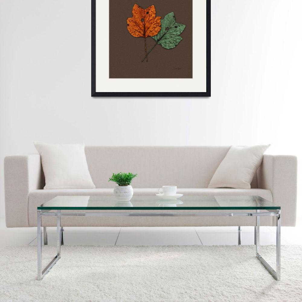 """Two Autumn Leaves Modern Minimalism by Ginette&quot  (2009) by GinetteCallaway"