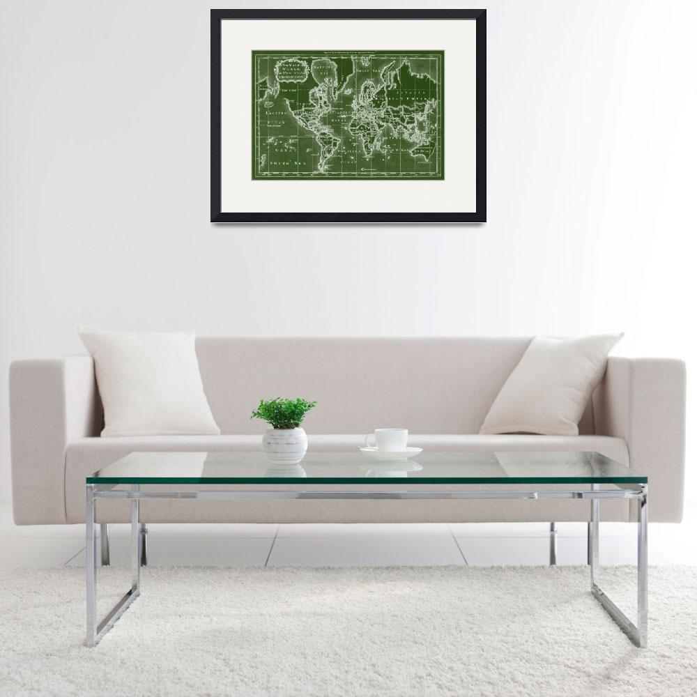 """World Map (1766) Green & White&quot  by Alleycatshirts"
