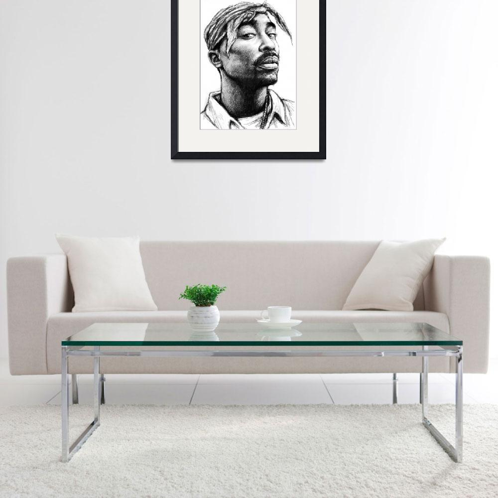 """2pac - tupac shakur drawing sketch art poster&quot  (2013) by visualharbour"