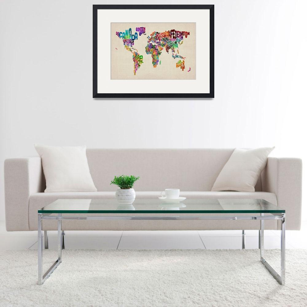"""Text Map of the World&quot  (2011) by ModernArtPrints"