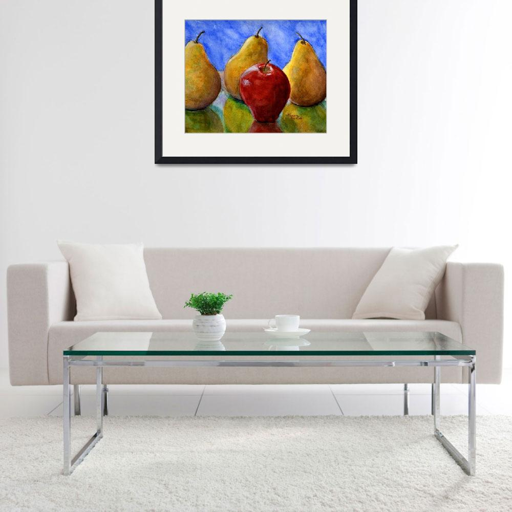 """Apple and Pears Watercolor Still Life&quot  (2008) by Lenora"