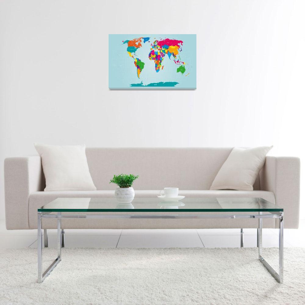 """World Map&quot  (2011) by ModernArtPrints"