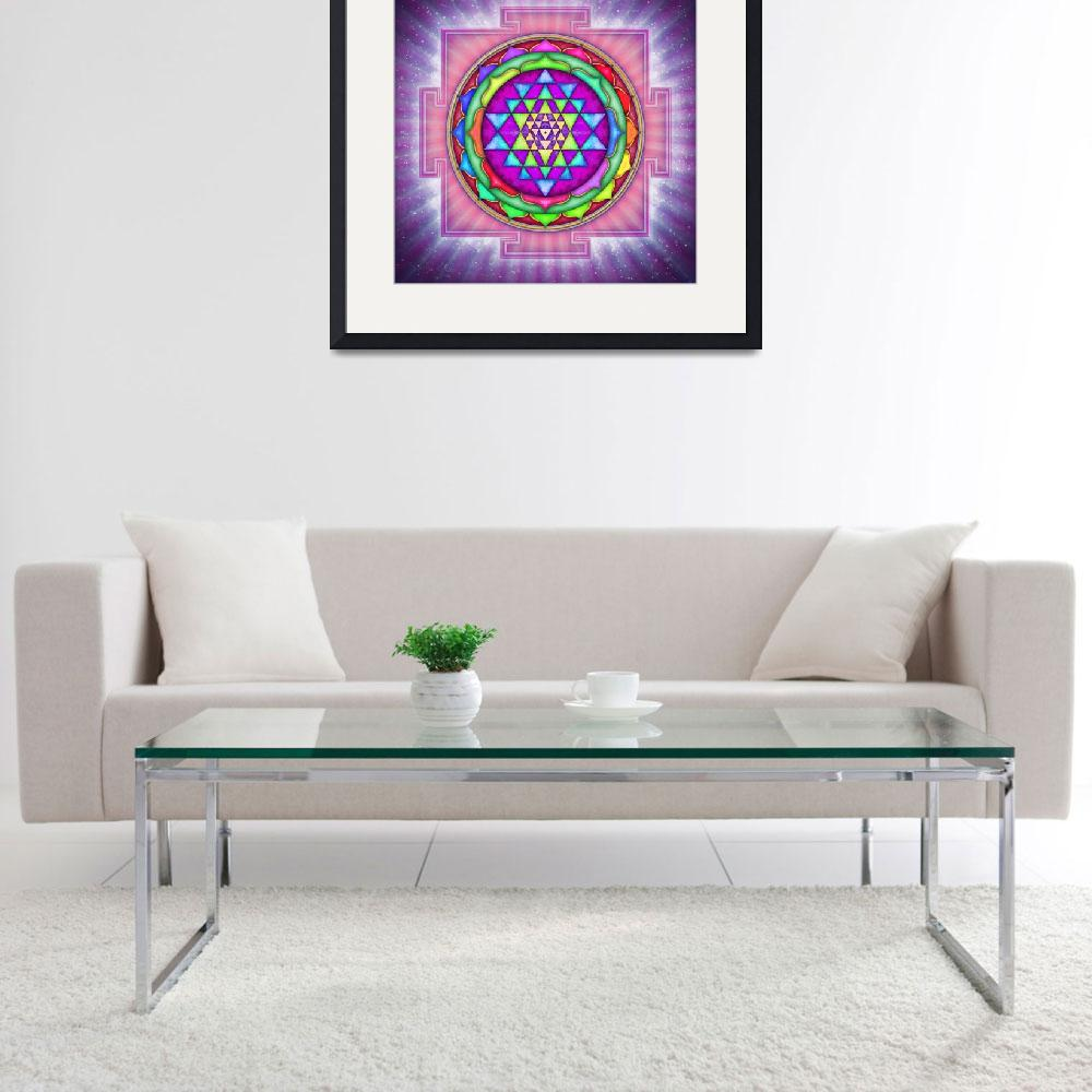 """Shining Sri Yantra Mandala I&quot  by dcz"