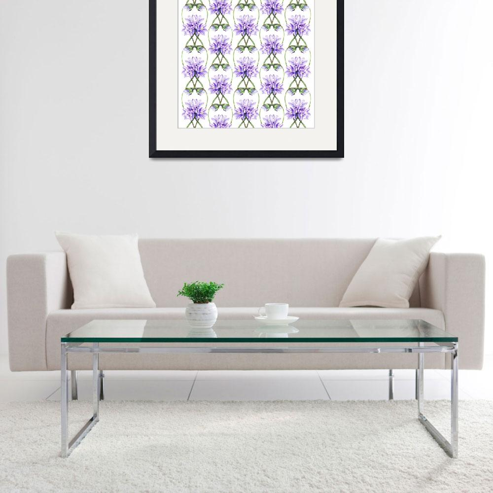 """Purple Flowers Botanical Field Pattern&quot  (2015) by IrinaSztukowski"