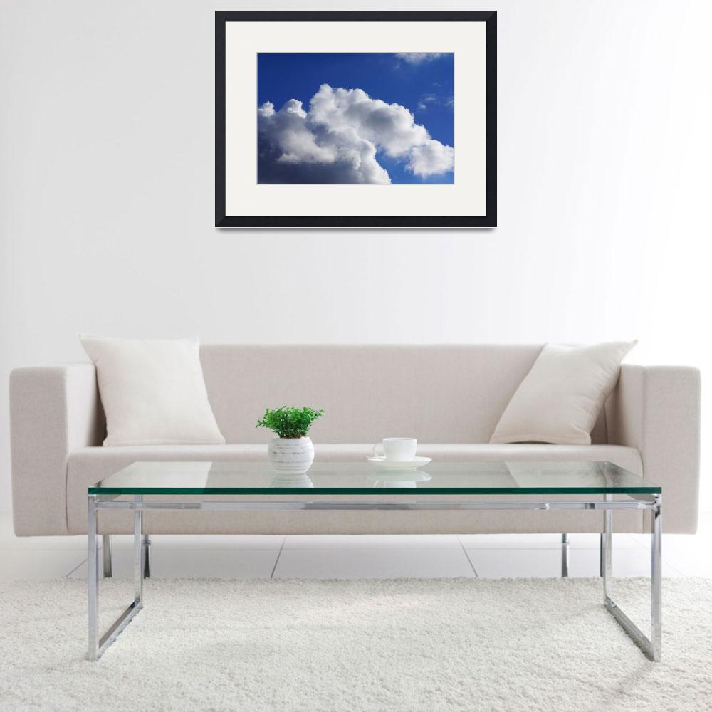 """Blue Sky Art prints White Clouds Canvas Framed&quot  (2014) by BasleeTroutman"