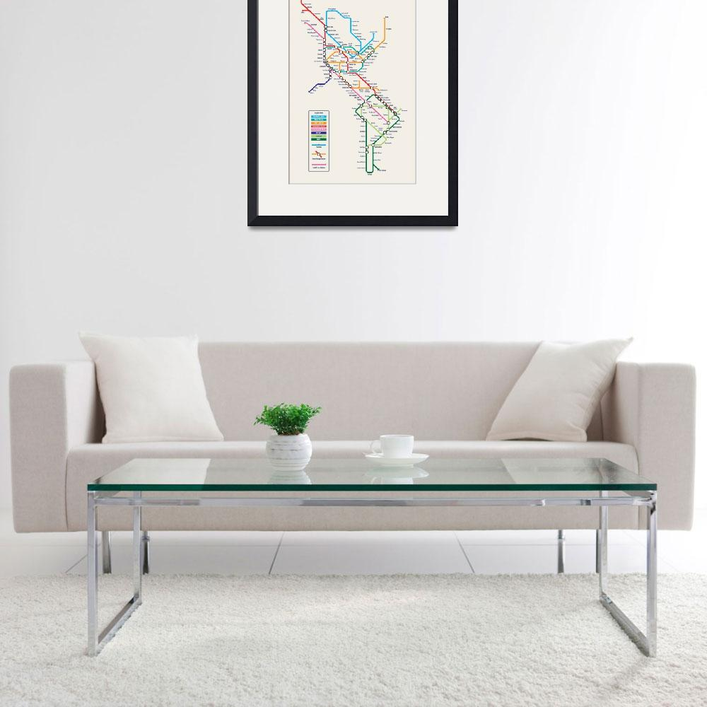 """Americas Metro Map&quot  (2011) by ModernArtPrints"