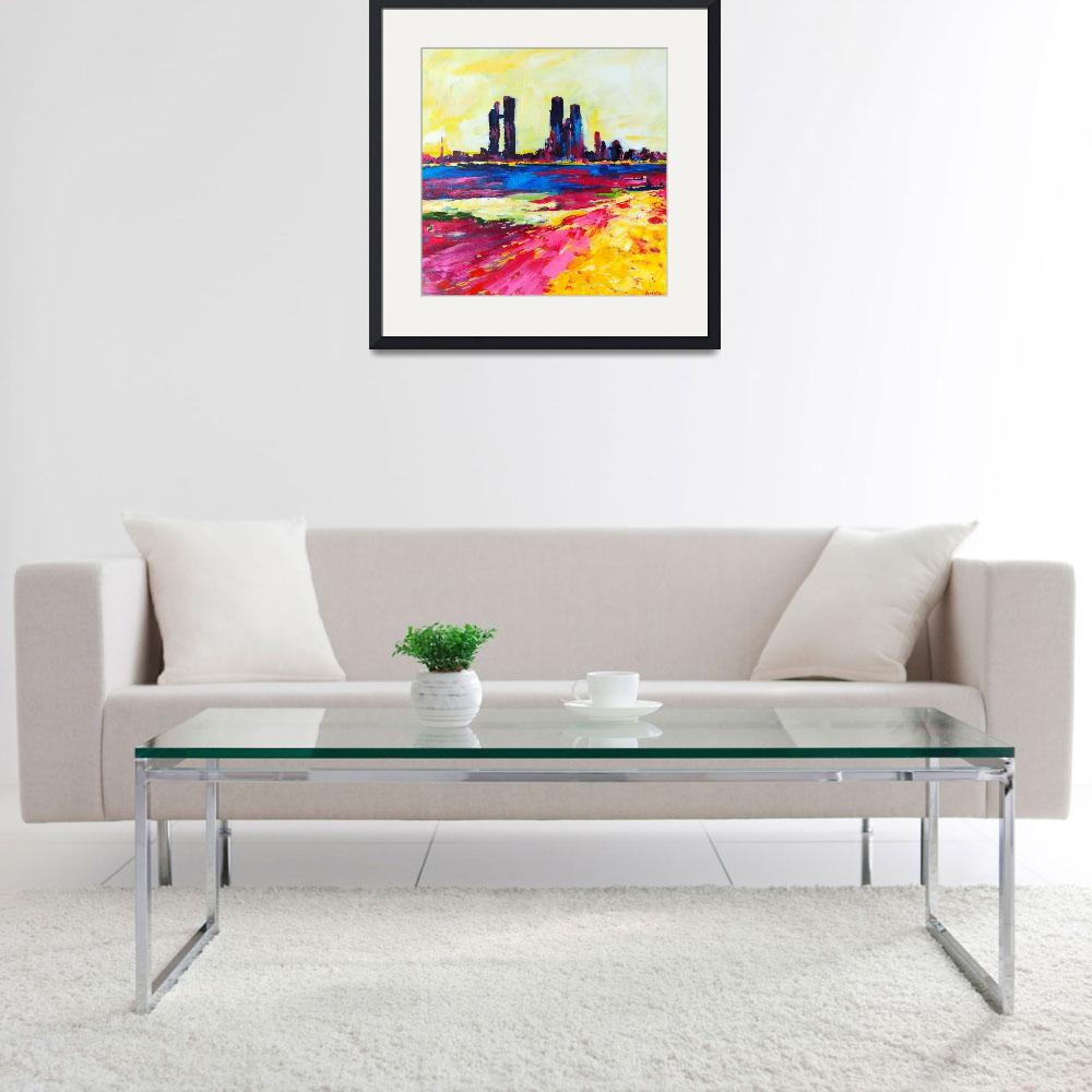 """Heat Wave - Abu Dhabi Abstract Cityscape Painting&quot  (2014) by AmiraRahim"