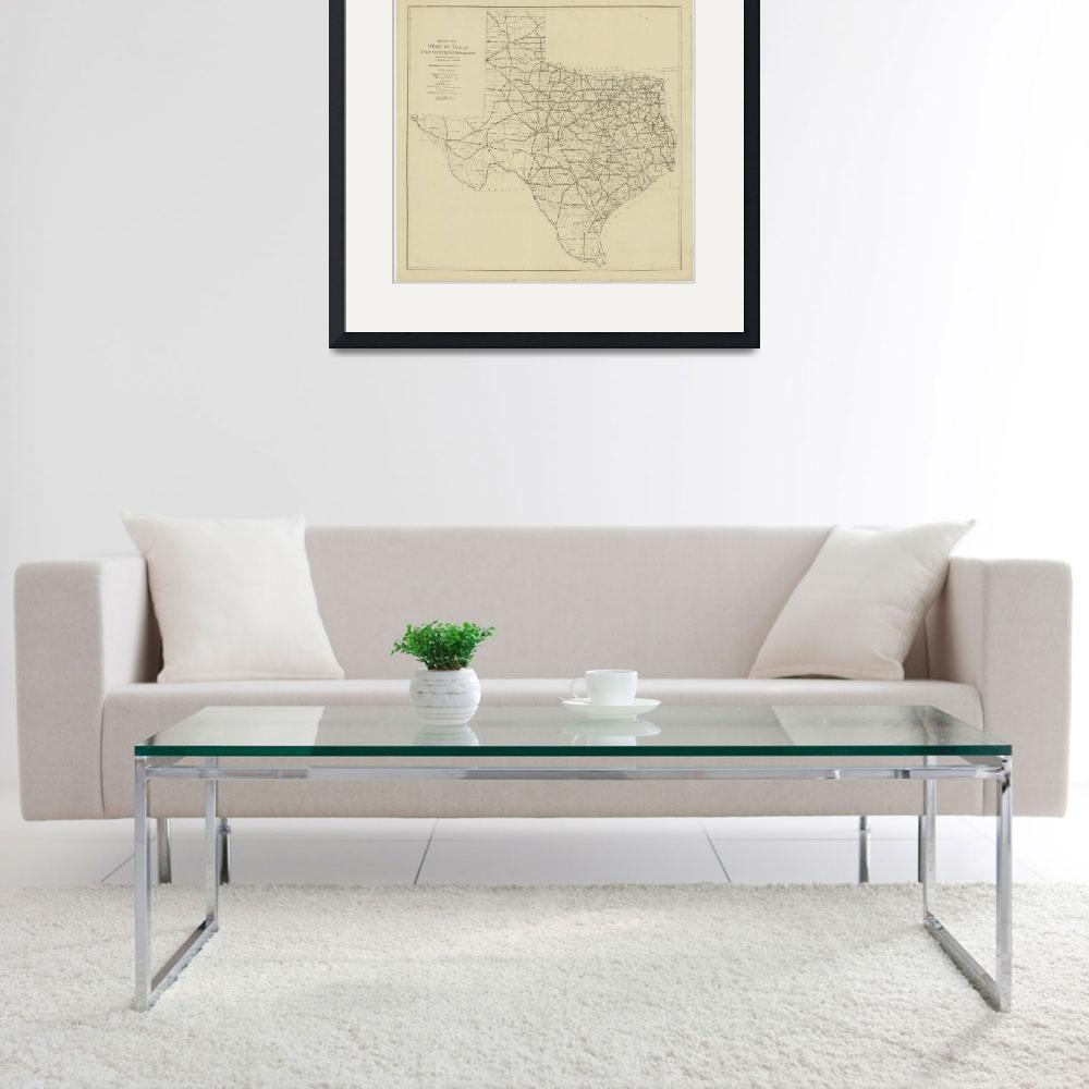 """Vintage Map of The Texas Highway System (1919)&quot  by Alleycatshirts"