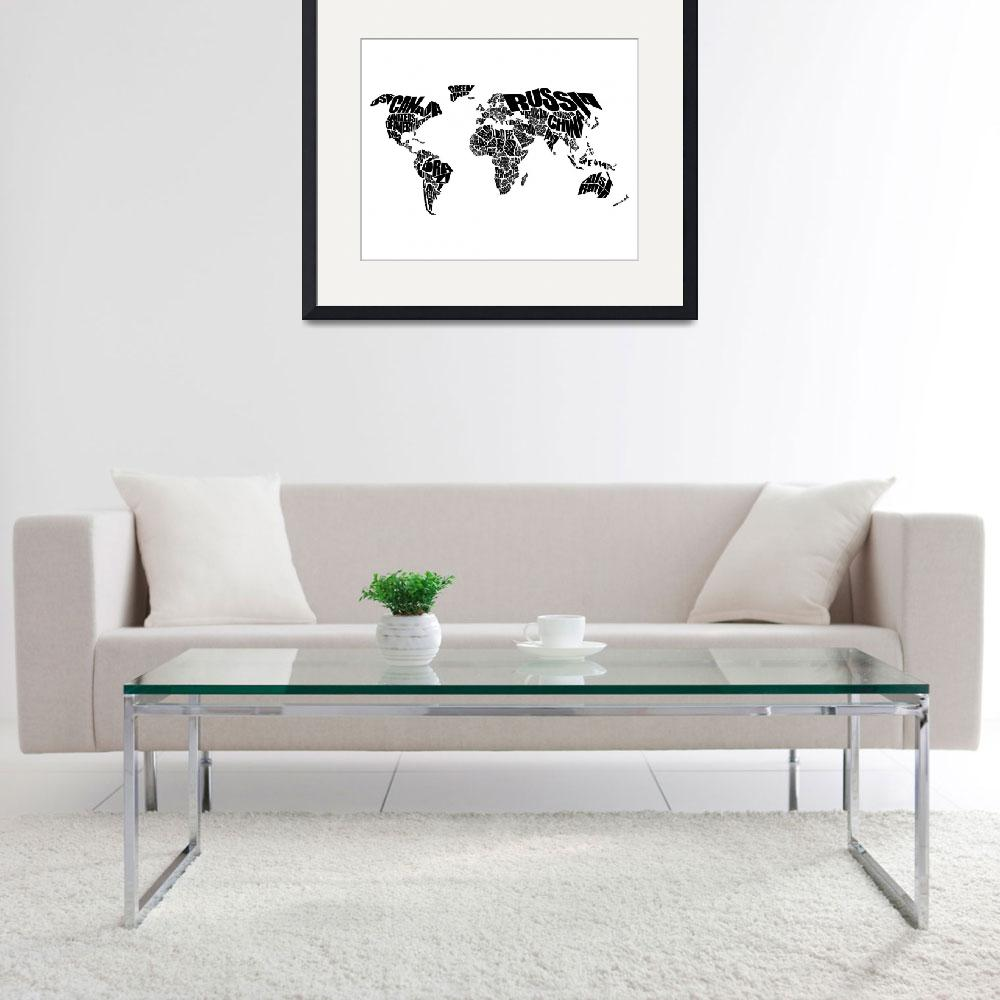 """World Text Map - Black on White&quot  (2012) by inkofme"