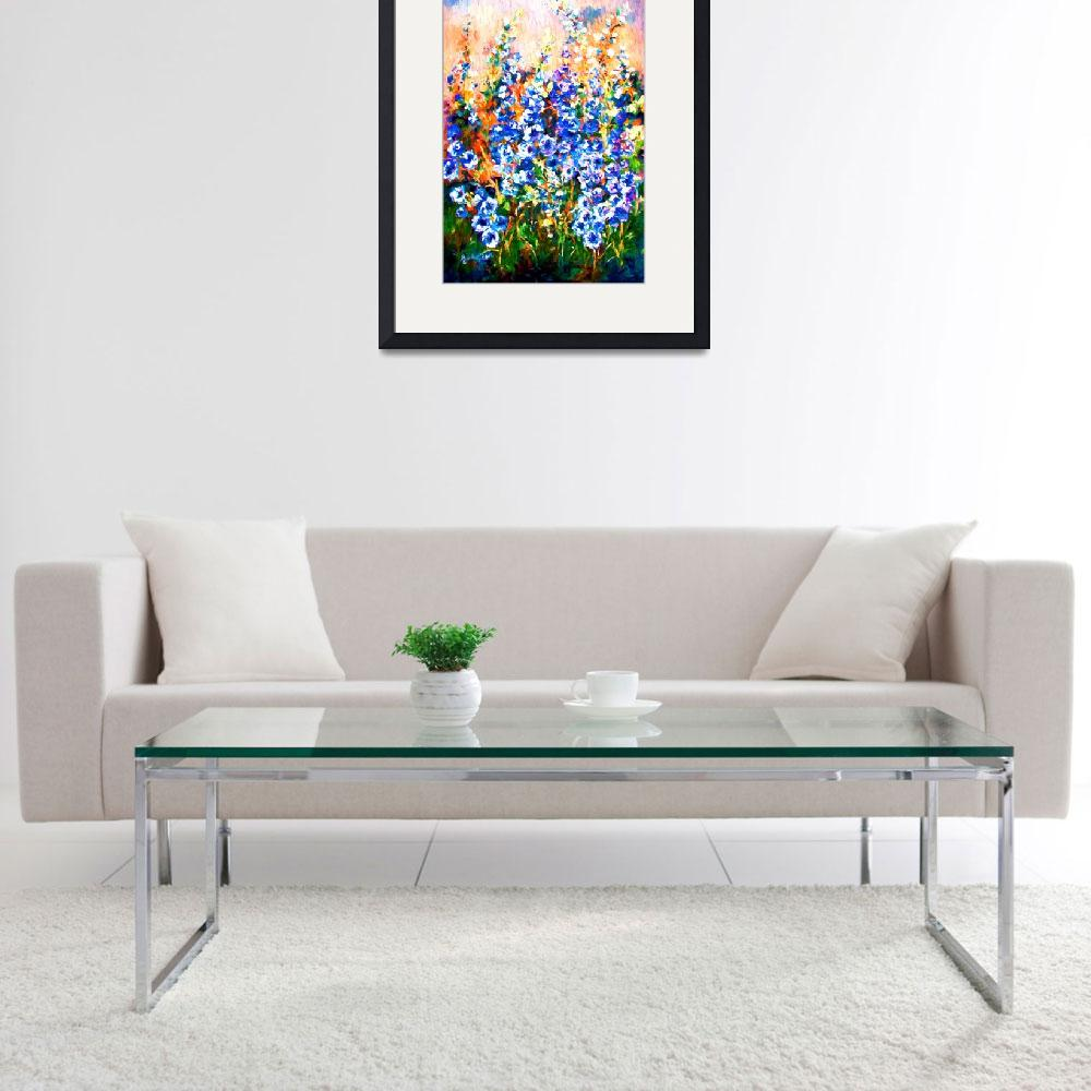 """Delphiniums Impressionist Flowers&quot  (2015) by GinetteCallaway"