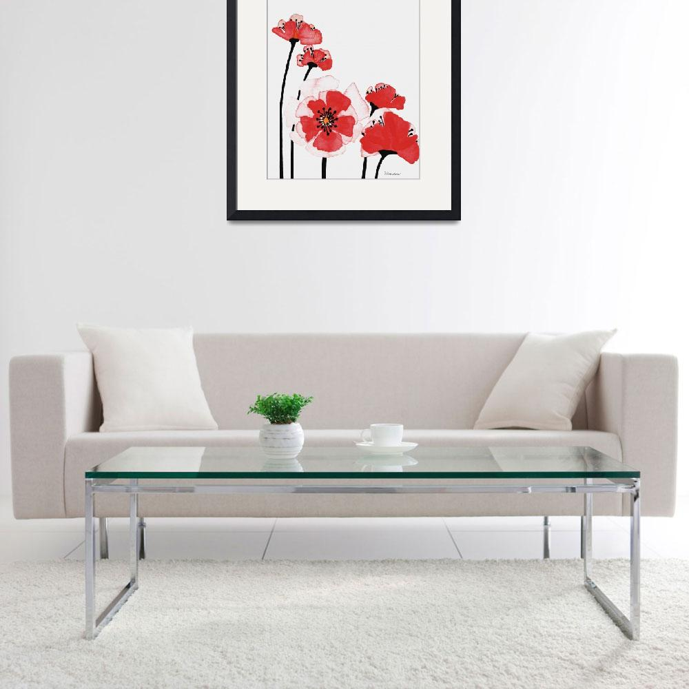 """Original Expressive Wild Red and Pink Poppies w3e&quot  (2014) by Ricardos"