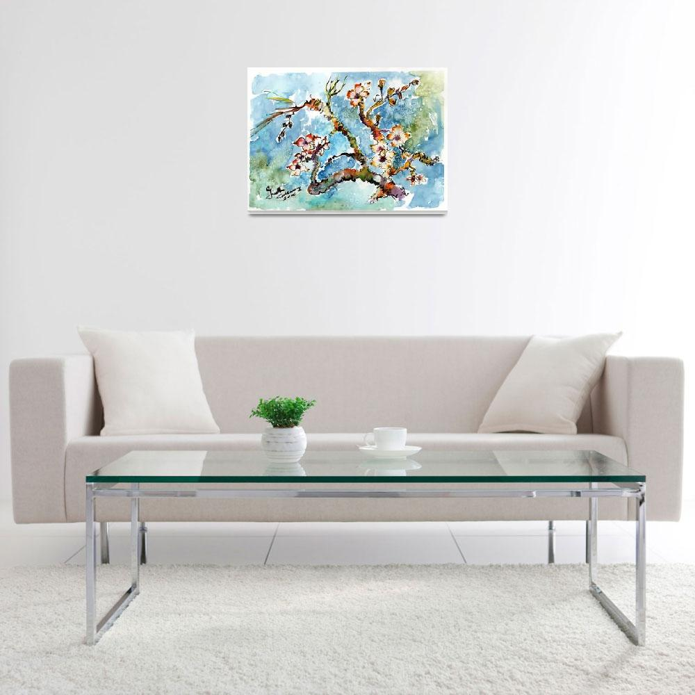 """Blossoming Almond Tree Watercolor by Ginette&quot  (2016) by GinetteCallaway"