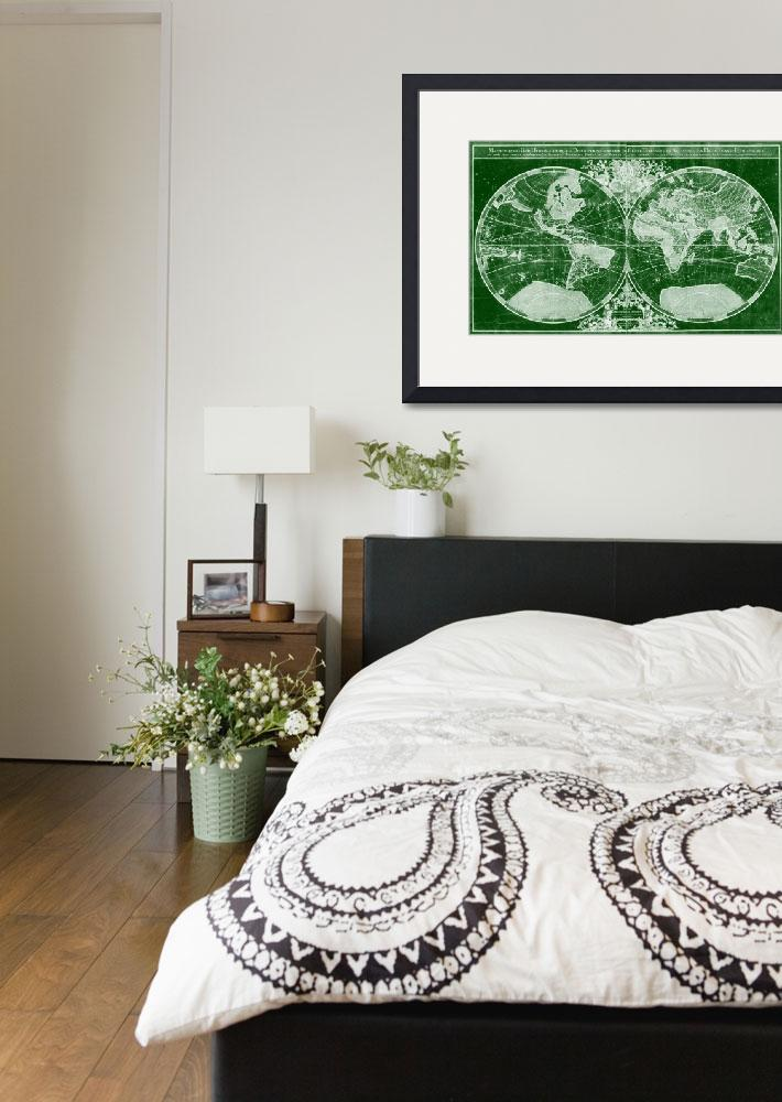 """World Map (1691) Green & White&quot  by Alleycatshirts"
