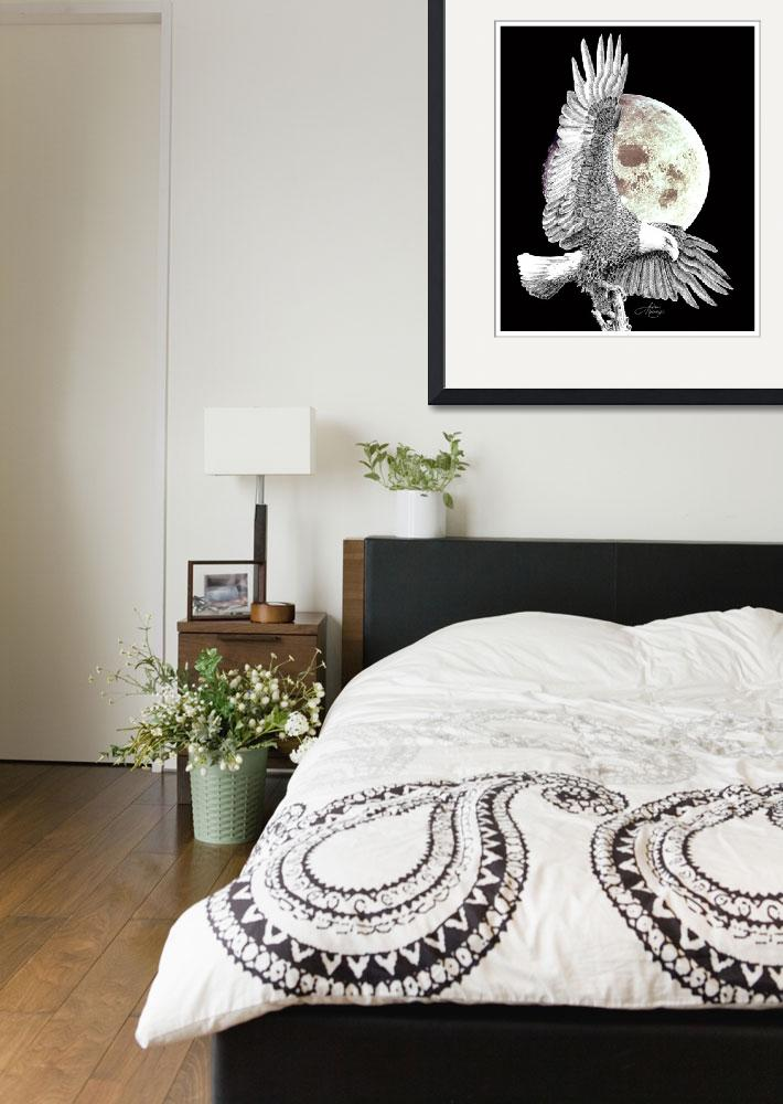 """Eagle on Moon-1&quot  (1993) by HomeART-Best-Choices"