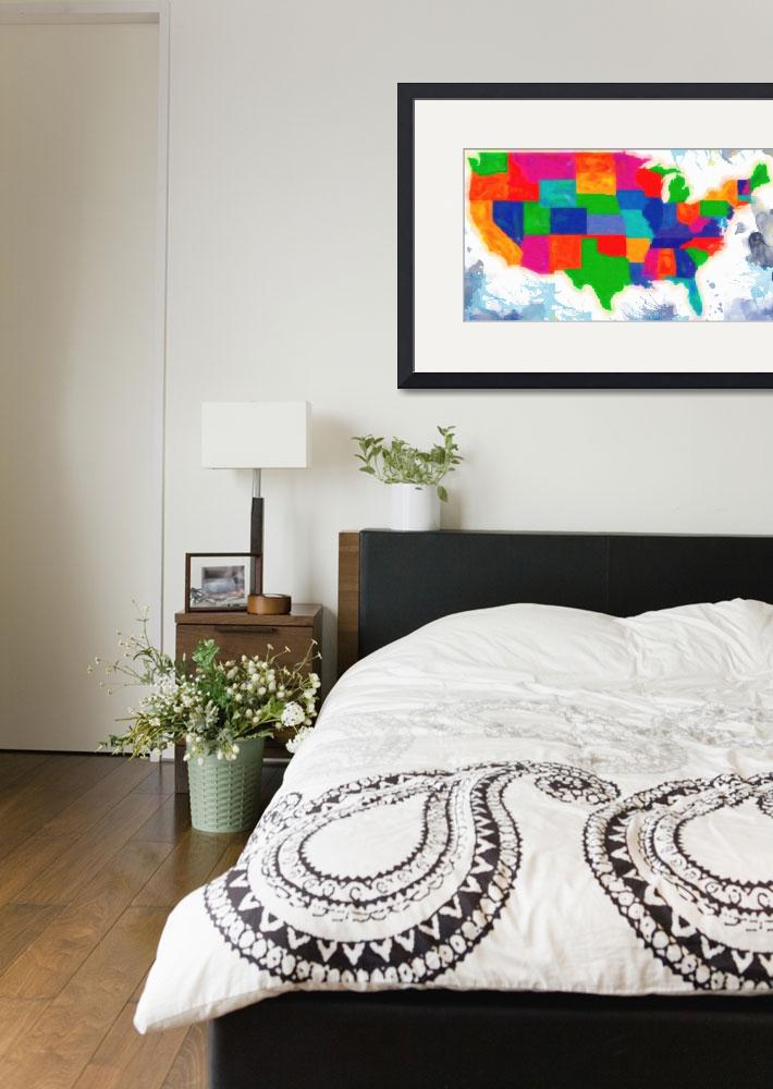 """maps of usa with states watercolor 2&quot  by motionage"