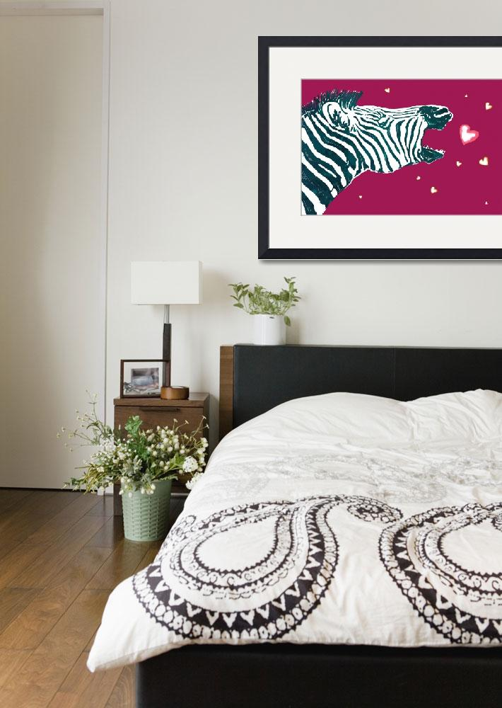 """Zebra Love - stylised drawing art poster&quot  (2014) by visualharbour"