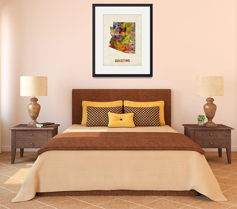 """Arizona Watercolor Map&quot  (2013) by ModernArtPrints"