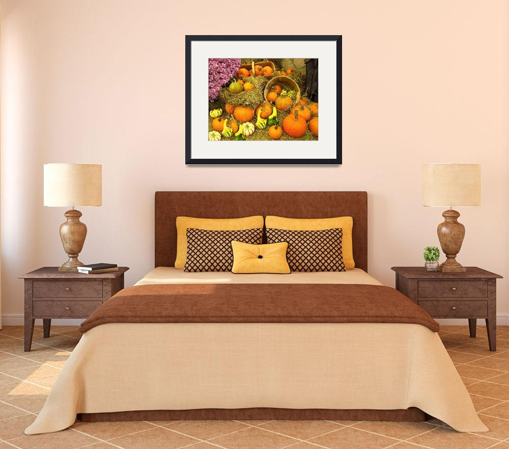 """Pumpkin Display,Wooden Bushels,Pink Chrysanthemums&quot  (2010) by Chantal"