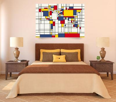 <b>World Map Abstract Mondrian Style</b> by Michael Tompsett (2011)