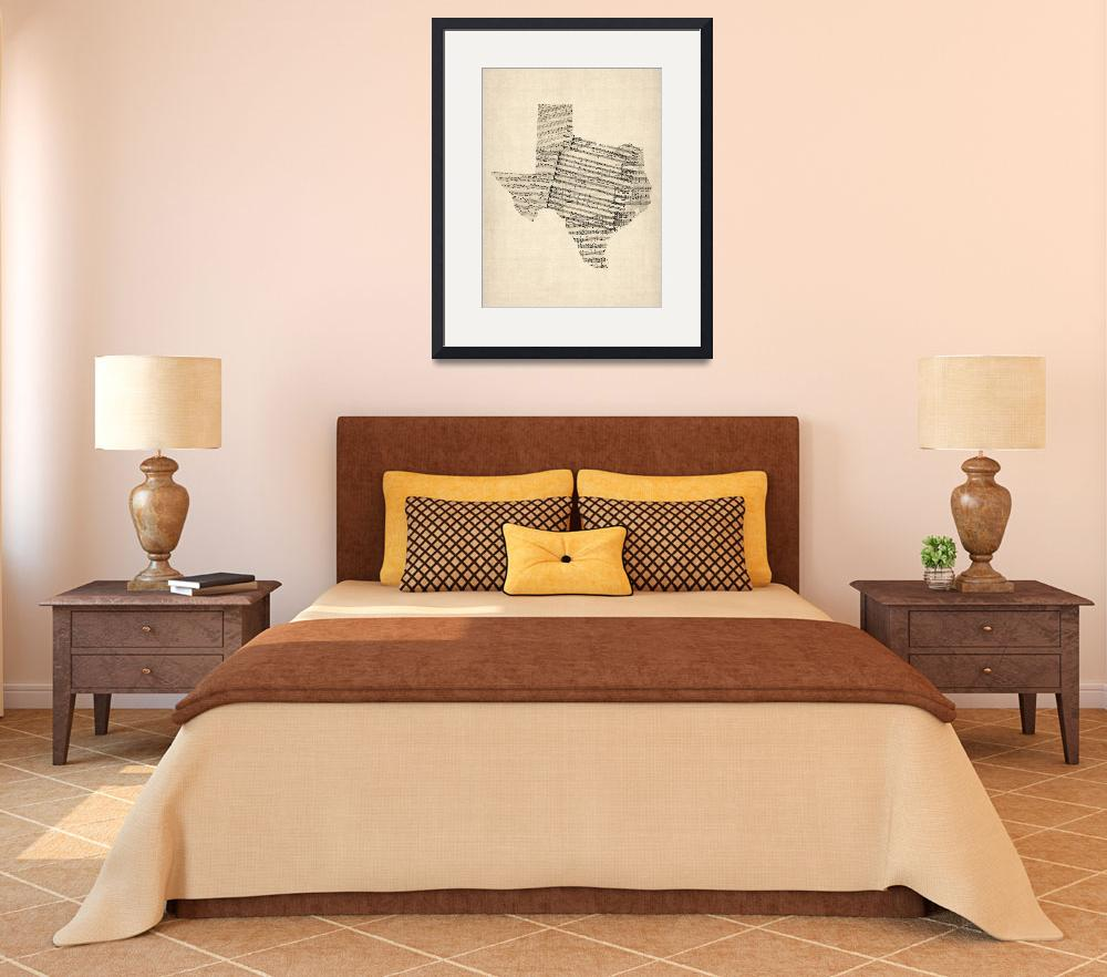 """Old Sheet Music Map of Texas&quot  by ModernArtPrints"