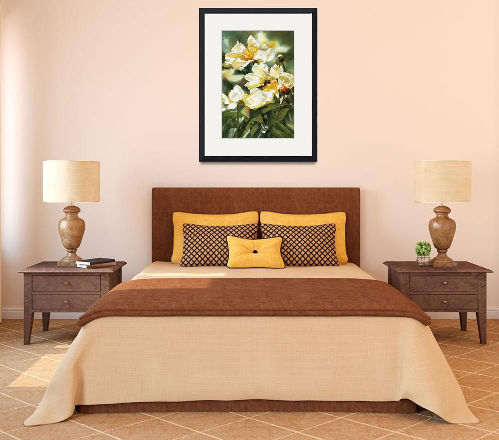 """Gold and White Peony&quot  (2006) by Pacific-NW-Watercolors"