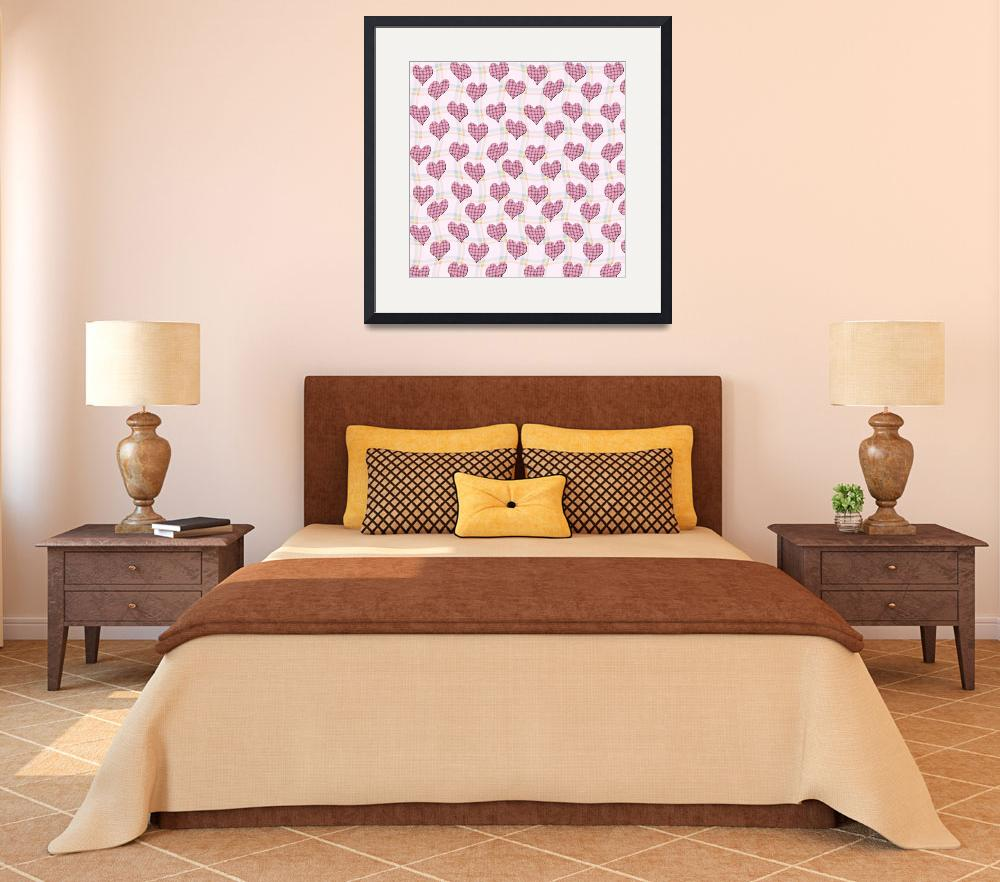 """Pink gingham hearts pattern wallpaper&quot  by funkyworm"