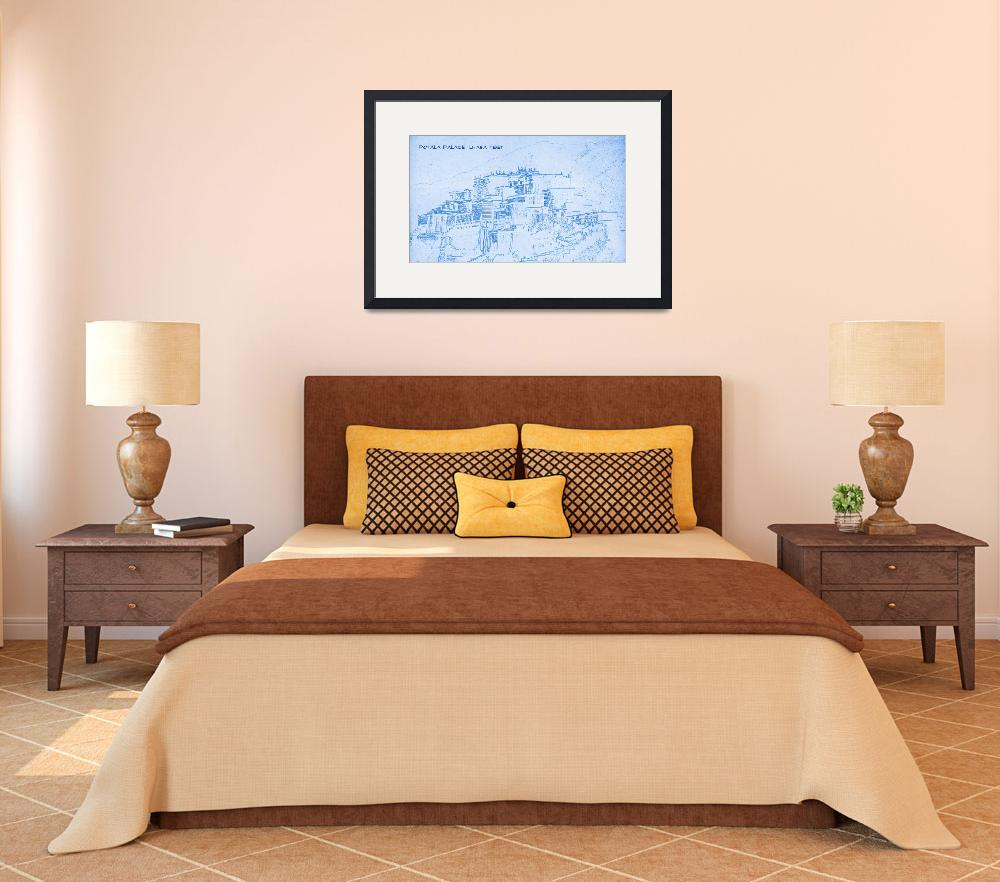 """Potala Palace  Lhasa Tibet  - BluePrint Drawing&quot  by motionage"