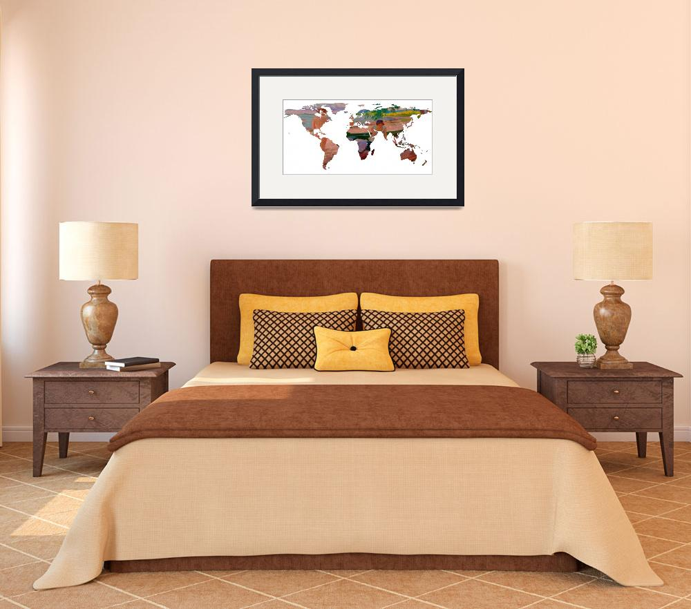 """World Map Silhouette - Undressing at The Beach&quot  by Alleycatshirts"