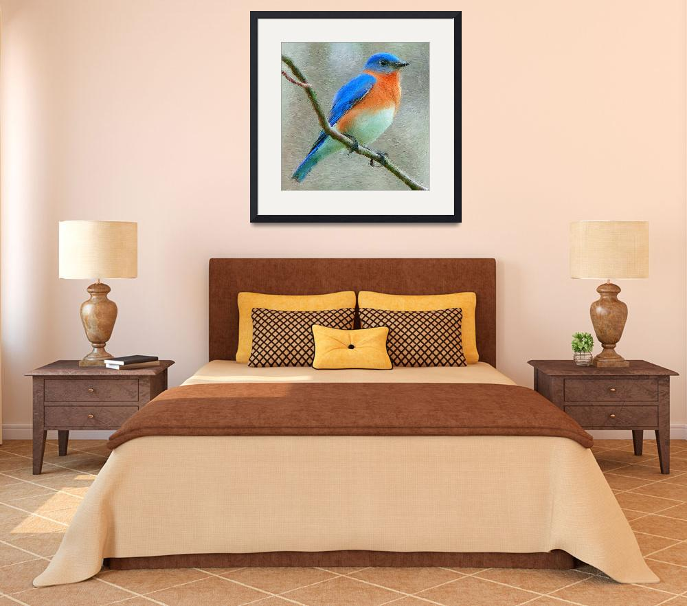 """Eastern Bluebird_Painting lg&quot  (2009) by jpgilmore"