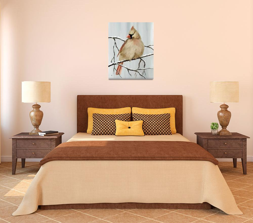 """Female Cardinal&quot  by waterart"