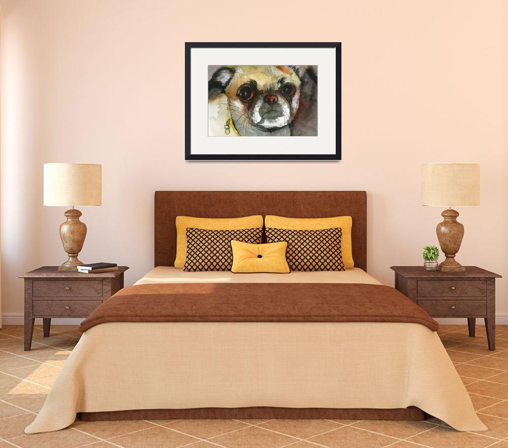 """Ginger Pug Bug, Watercolor Painting Animal Dog Art&quot  (2009) by schulmanart"