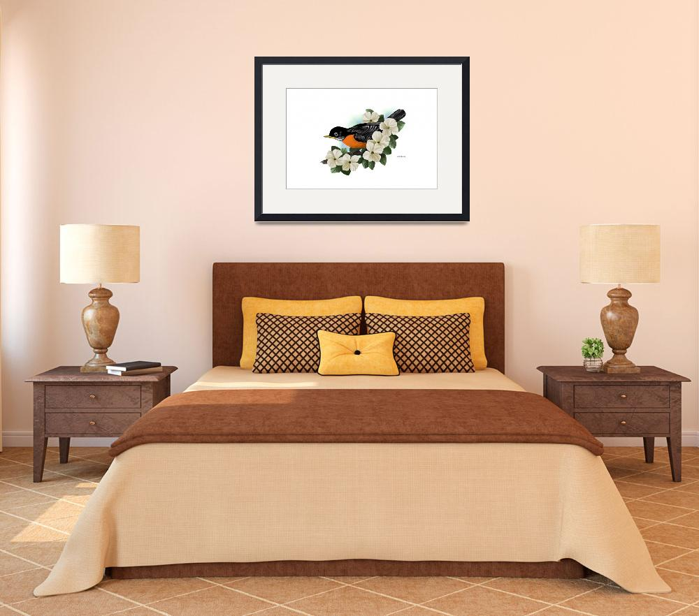 """American Robin Art&quot  by waterart"