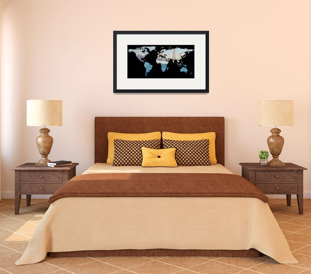 """World Map Silhouette - Sailing Round The World&quot  by Alleycatshirts"