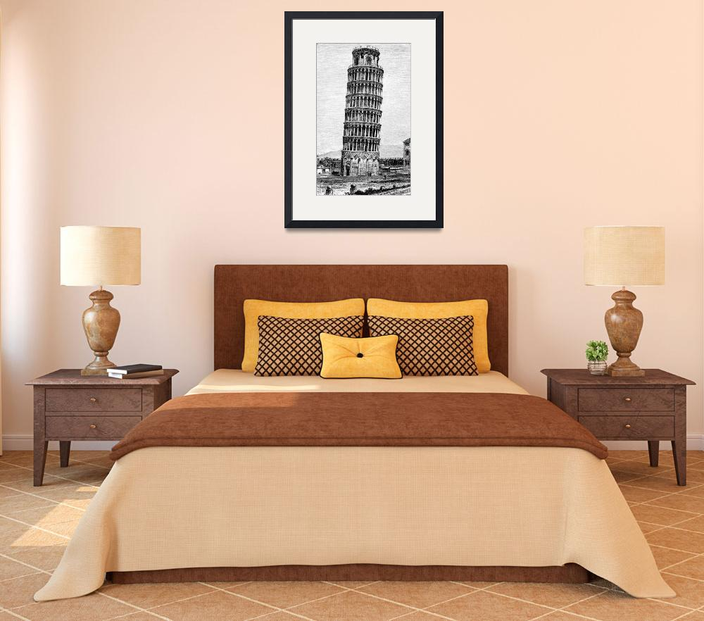 """Leaning Tower Of Pisa 1870 Drawing&quot  (2014) by WilshireImages"