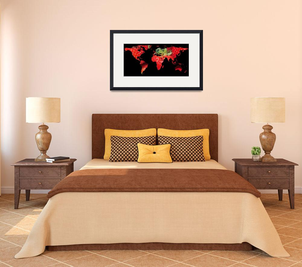 """World Map Silhouette - Strawberries&quot  by Alleycatshirts"