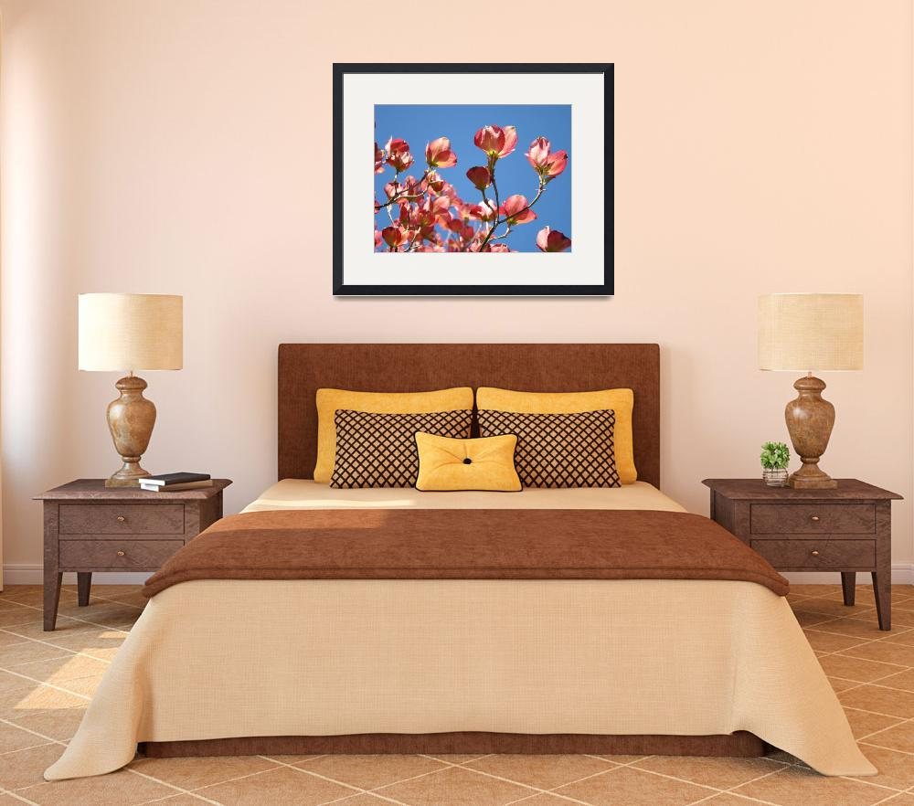 """Blue Sky Floral Landscape Art Pink Dogwood Flowers&quot  (2010) by BasleeTroutman"