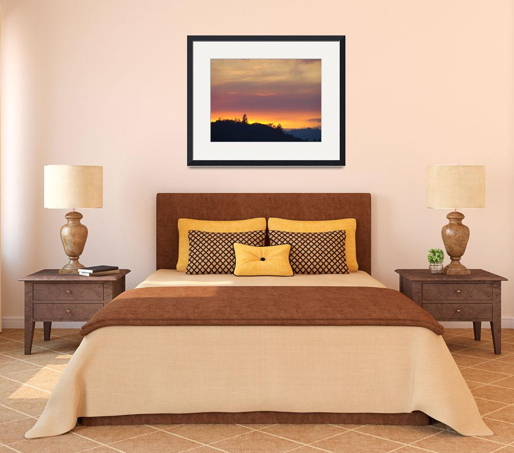 """SUNSET Art Sweet 1 Yellow Orange Purple Sky Trees&quot  (2009) by BasleeTroutman"