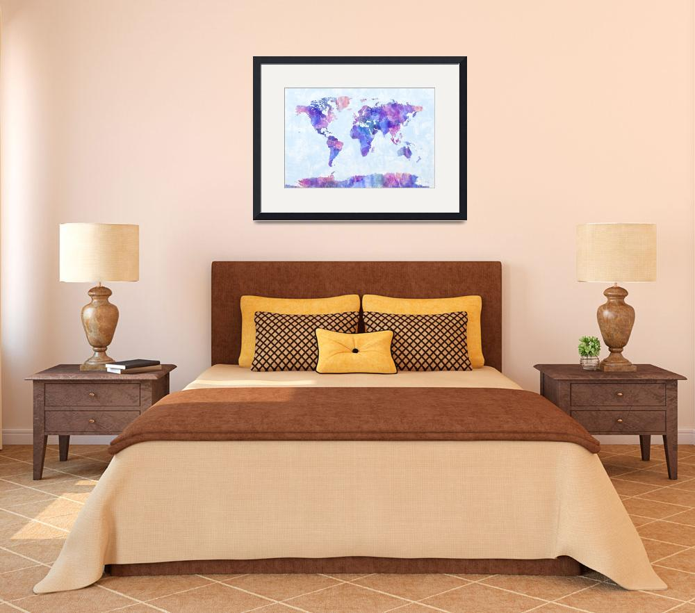 """Map of the World Map Watercolor Painting&quot  (2011) by ModernArtPrints"