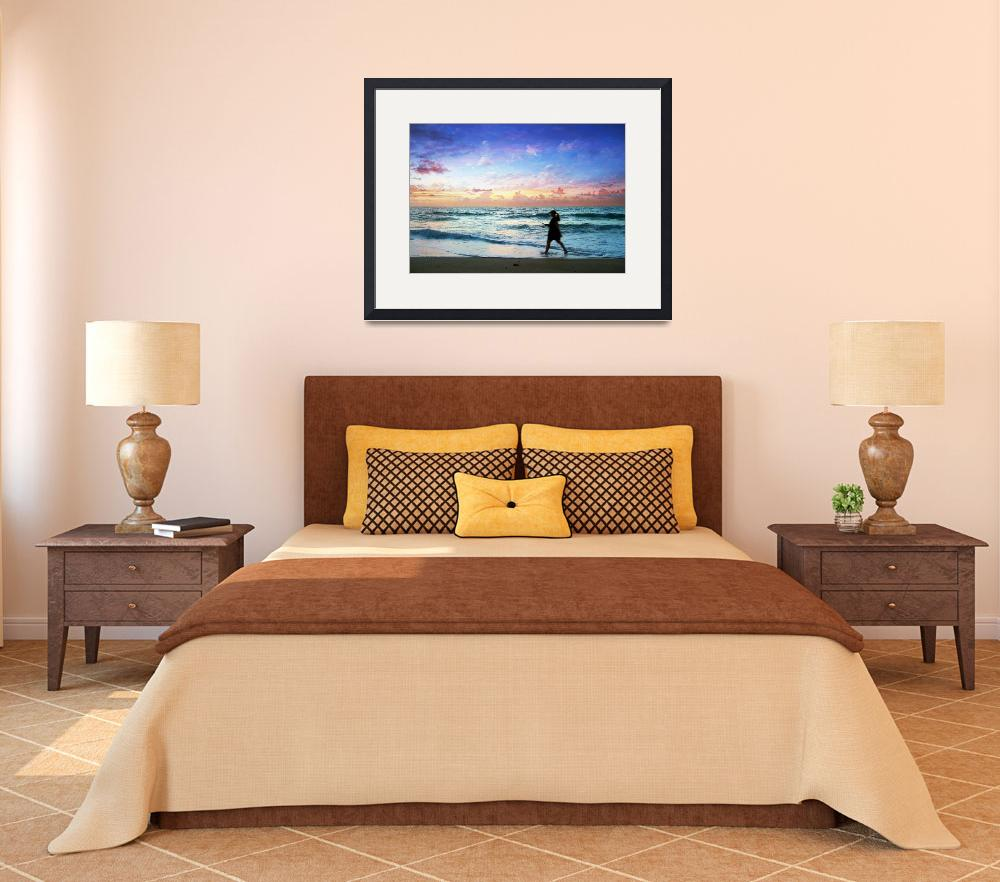 """Sunrise Seascape Shore Fishing at Dawn D6&quot  (2015) by Ricardos"