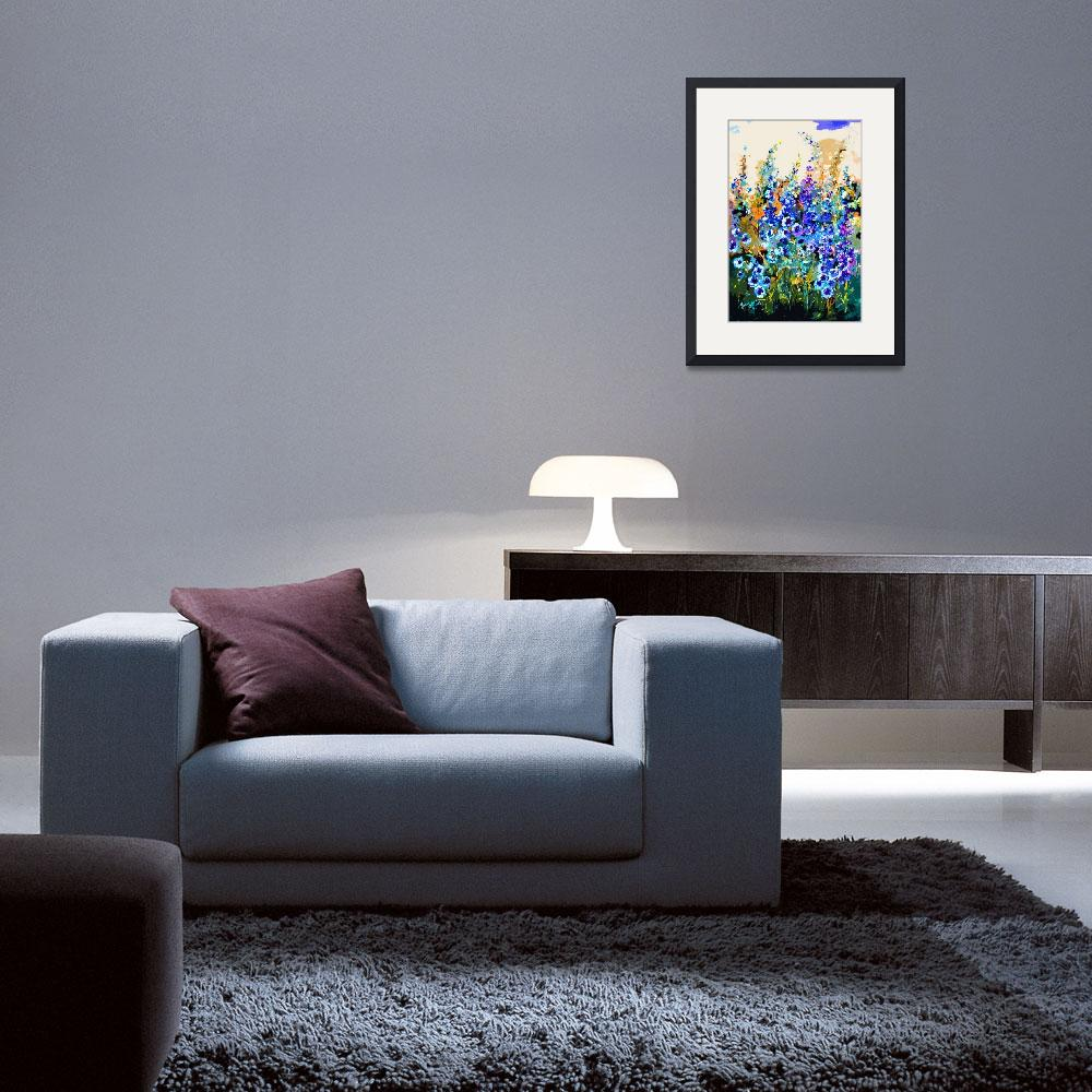 """Delphiniums Modern Floral Art&quot  (2014) by GinetteCallaway"