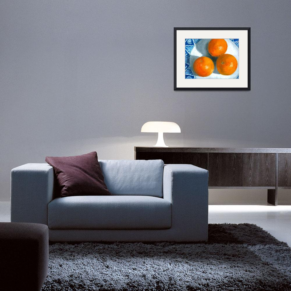 """Oranges on Blue and White Plate&quot  (2007) by AbbyCreekStudios"