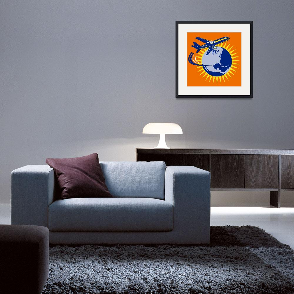 """commercial jet plane airliner flying globe&quot  (2013) by patrimonio"