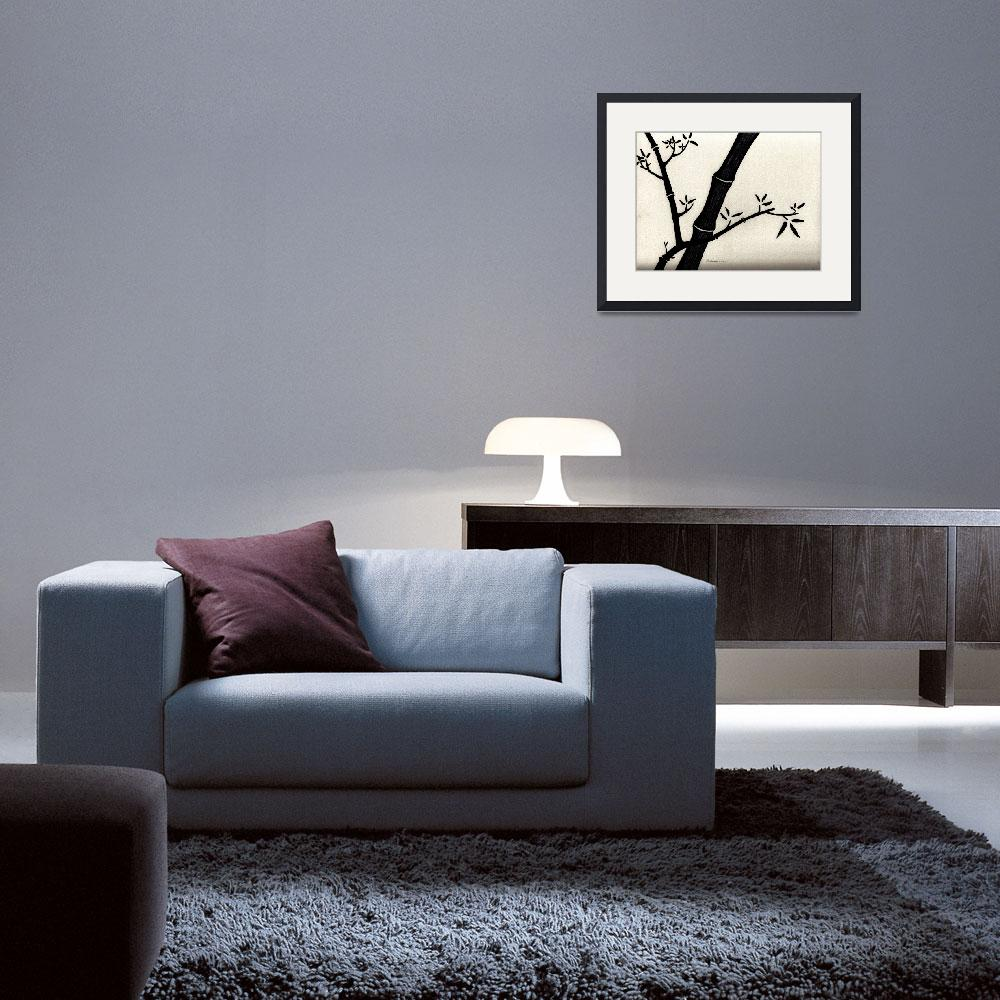 """Zen Sumi Antique Bamboo 2a Black Ink on Watercolor&quot  (2011) by Ricardos"